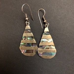 Jewelry - Vintage Alpaca Mexico925 Abalone Earrings